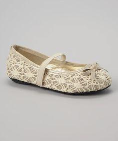 Look at this #zulilyfind! Beige Glitter Lace Strap Flat by Ositos Shoes #zulilyfinds