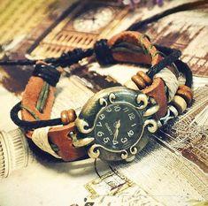Handmade Womens Leather Wrist Watch Ladies Girls Bangle Beaded Bracelet Quartz watch