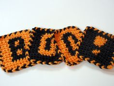 free halloween projects to knit or crochet  BOO COASTERS