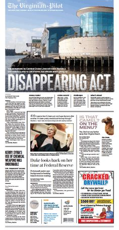The Virginian-Pilot's front page for Tuesday, Aug. 27, 2013.