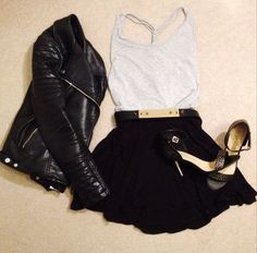 H&M Leather Jacket, Gray Tank (H&M) + ASOS Black skirt