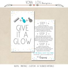 customized printable - rodan and fields mini facial cards - hand illustrated design - ready to print - randf business - business info by VonnLouDESIGNS on Etsy https://www.etsy.com/listing/463071432/customized-printable-rodan-and-fields