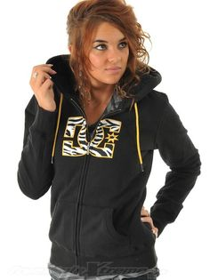 Black and yellow, DC zip up sweater.