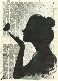 Print Art Sketch Ink Drawing on Book Pages Collage Painting Illustration Girl by rcolo, $10.00