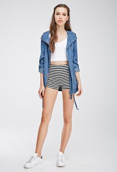 Striped Stretch-Knit Shorts