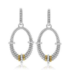 18K Yellow Gold & Sterling Silver Diamond Accented Graduated Oval Earrings #yellowdiamonds