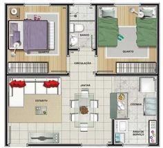 plantas de apartamentos pequenos 4.jpg (650×592)