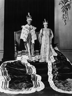 King George VI of England and British Queen Elizabeth in Coronation Robes, London, May, 1937  Queen Elizabeth and King George VI