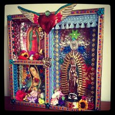 Our Lady of Guadalupe Shadow box shrine - The Virgin Mary shrine or altar piece / Rainbow colorful / Mexican folk art Religious Icons, Religious Art, Tin Art, Assemblage Art, Mexican Folk Art, Sacred Heart, Our Lady, Shadow Box, Folk Art