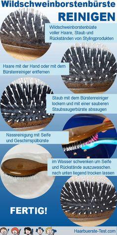 Tipps zur Reinigung von Wildschweinborstenbürsten! - Praxis Tests! Cleaning Hair Brushes, Best Hair Brush, Hair And Beauty, Home Remedies, Tips And Tricks, Household