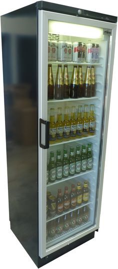 "Danish-made Vestmark bar fridge for the ol' Man Cave...note the selection of Aussie beers on the last two shelves: Castlemaine XXXX Gold (Why ""XXXX?"" Because Queenslanders can't spell ""beer""), Carleton Draught, and good ol' VB - Victoria Bitter..."