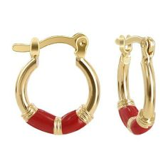 18 KT Gold Layered 15mm x 18mm Red Enamel Band 2mm Thick Hinge With Notched Post Findings Hoop Earrings Gem Avenue. $5.99. Hoop Earrings. Polished Finish Earrings. 2mm thick 15mm x 18mm. 18k Gold Layered. Gem Avenue sku # HOER031