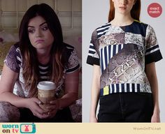Aria's striped and snake printed top on Pretty Little Liars.  Outfit Details: http://wornontv.net/34218/ #PLL