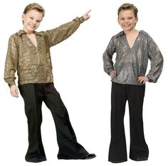 1970S 70'S DISCO FEVER CHILD BOY COSTUME GOLD SILVER SEQUIN SHIRT COSTUMES 91071 | eBay