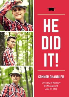 Red Photo Collage Graduation Announcement
