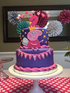 Peppa Pig Cake Tortas Peppa Pig, Bolo Da Peppa Pig, Peppa Pig Birthday Cake, Peppa Pig Cakes, Bolo Mickey, 3rd Birthday Parties, 4th Birthday, Birthday Ideas, Pig Party