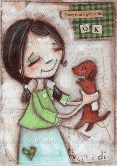 Print of my original folk art mixed media Dog painting by DUDADAZE