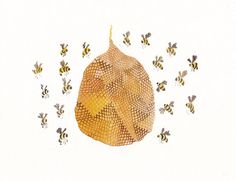 I need this in our entry way somewhere.welcome to the Boyer Hive! Bee Hive Archival Print by unitedthread on Etsy Honey Bee Hives, Honey Bees, Honey Label, I Love Bees, Bee Movie, Bee Happy, Bees Knees, Painting & Drawing, Watercolor Painting