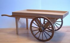 Wooden Cart with Wheels | cart kit 1 12th scale white wood cart kit height