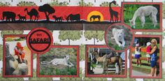 Scrapbook Page - 2 page zoo layout with animal silhouettes - from Everyday Life Album 30