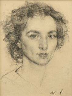 Nicolai Fechin - Portrait of a Woman, charcoal and...