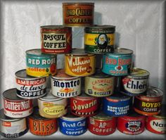 vintage coffee can collection