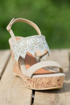 Southern Honey Wedge - Cream Crochet Wedges - Tan Summer Lace Wedges