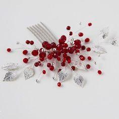 Red Jewelry, Hair Jewelry, Bridal Jewelry, Jewellery, Bow Accessories, Wedding Hair Accessories, Wedding Headband, Hair Beads, Handmade Beads