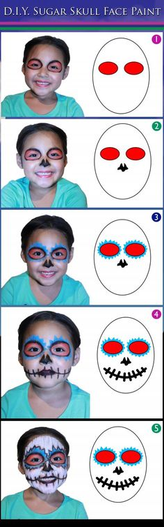 We have another great Halloween face painting idea for you! Sugar Scull! We have been getting a lot requests to make a Sugar Scull DIY so here it is just in time for Halloween and as always it will cost you VERY little! If you are still looking for a great Halloween idea for yourself and/or your little ones, this one is perfect!