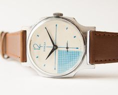 Soviet men's watch Pobeda - modern Russian wrist watch - turquoise, white checked face