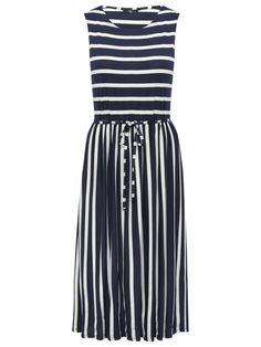 Petite stripe full skirt midi dress