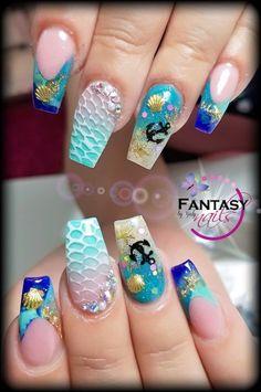 Nice 46 Creative Ocean Nail Art Design Ideas Best For Summer Cute Nails, Pretty Nails, Nail Art Designs, Awesome Nail Designs, Best Nail Designs, Nails Design, Ocean Nail Art, Sea Nails, Bright Summer Nails