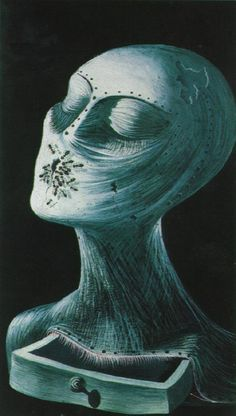 Salvador Dali - Ant Face (Drawing for the Catalogue Jacket of Dalí's Exhibition at the Alex Reid and Lefevre Gallery in London) (gouache on black paper, 1936)