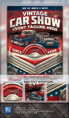 Vintage Car Show Flyer  #retro #stock car #vette • Available here → http://graphicriver.net/item/vintage-car-show-flyer/1482714?s_rank=246&ref=pxcr
