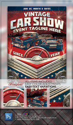 Vintage Car Show Flyer  #retro #stock car #vette • Available here → http://graphicriver.net/item/vintage-car-show-flyer/1482714?s_rank=246&ref=pxcr
