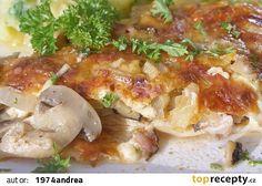 Zapečené šťavnaté kuřecí maso recept - TopRecepty.cz Pork, Food And Drink, Treats, Chicken, Cooking, Pork Roulade, Sweet Like Candy, Goodies, Pigs