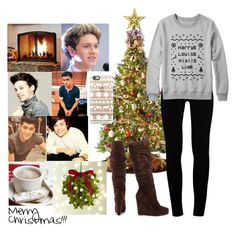 """""""Christmas w/ the Boys"""" by myaglynn ❤ liked on Polyvore featuring Pottery Barn, Payne, General Foam, J Brand, Michael Antonio, Casetify and Crate and Barrel"""