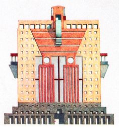 Michael Graves, Drawing for Oregon Building, Circa 1980 Post Modern Architecture, Architecture Drawings, Architecture Design, Michael Graves, Memphis, Color Plan, Building Facade, Postmodernism, Aldo Rossi