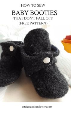 How to Sew Baby Booties That Don't Fall Off (Free Pattern) Phototutorial - Bildanleitung