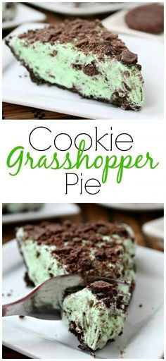 Cookie Grasshopper Pie on SixSistersStuff.com   The perfectly delicious minty dessert for your St. Patricks Day celebration