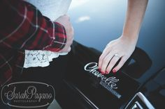 Wintery engagement session, featuring a beautiful, black Chevelle! by Sarah Pagano Photography