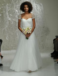 Watters Fall 2016 sweetheart neckline wedding dress with beaded crystal short sleeves   https://www.theknot.com/content/watters-wedding-dresses-bridal-fashion-week-fall-2016