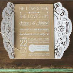 Brown and White Lace Invitations | Concept Photography | TheKnot.com