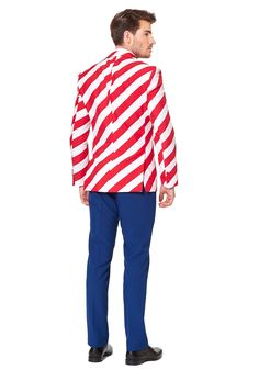 This Men's United Stripes Suit will have you feeling like a true patriot. Not only will you be envied by all, but most importantly, you will make Uncle Sam proud. Happy Hour, Kids Suits, Tuxedo For Men, Braveheart, Double Breasted Jacket, Striped Jacket, Blue Pants, Trendy Plus Size, Stripes