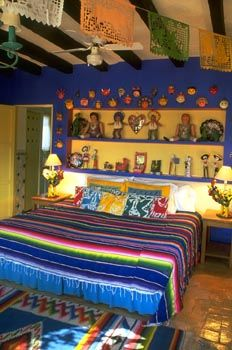 Mexican bedroom interior design - for more inspiration, visit www. Spanish Bedroom, Mexican Bedroom, Mexican Home Decor, Mexican Decorations, Mexican Interior Design, Hacienda Style, Home Decor Bedroom, Bedroom Wall, Bedroom Ideas