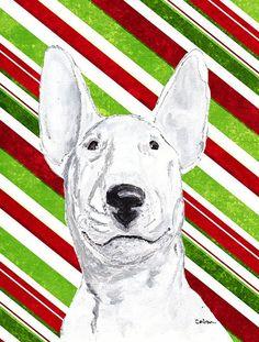 Bull Terrier Candy Cane Christmas Flag Canvas House Size