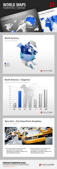 PowerPoint Maps Visualize data about specific regions like North America directly on the map or in Diagrams.  #presentationload http://www.presentationload.com/powerpoint-maps/