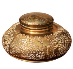 BRONZE PINE NEEDLE INKWELL WITH GLASS INSERT