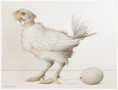"Jane Lewis ""Earthlings - Chicken & Egg"" (graphite and coloured pencil on paper) Jane Lewis, Chicken Painting, Opossum, Coloured Pencils, Chicken Eggs, First Art, Animal Rights, Worlds Of Fun, Art Pieces"