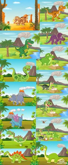 Cartoon dinosaurs - Vectors